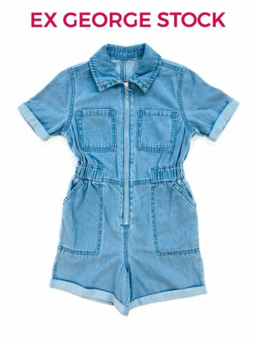 EX UK STORE Girls Denim PlaySuit JumpSuit Dungaree All In One 4-13 Years