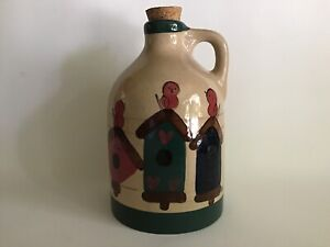 Heather-Stone-Signed-Pottery-Jug-Bottle-Pitcher-Birdhouse-KK-Art-Studio-Cork-Top