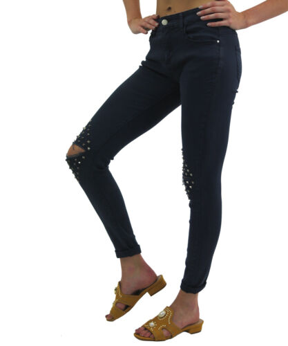 Womens Ladies Casual Knee Diamond Studded Cut Out Skinny Fit Stretch Denim Jeans