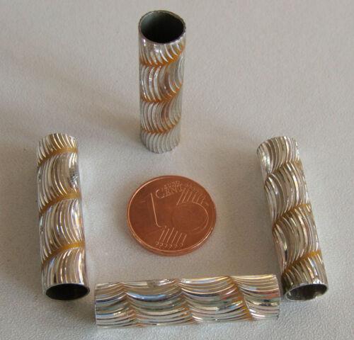 5 perles TUBES Strié spirale couleur OCRE 30x8mm Aluminium Alu metal DIY bijoux