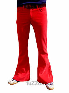 FLARES-Red-mens-bell-bottoms-Cords-jeans-hippy-vtg-indie-trousers-60s-70s-NEW