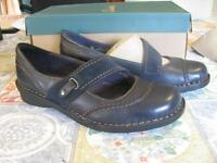 Clarks Bendables Navy Blue Nikki Audition Size 8.5w In Box Tw