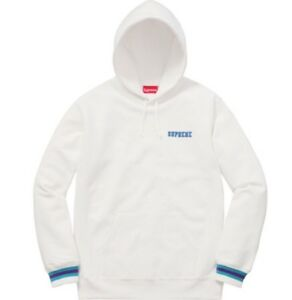 timeless design f0ba8 0fc06 Image is loading Supreme-Striped-Cuff-Hooded-Sweatshirt-Size-L-Large-