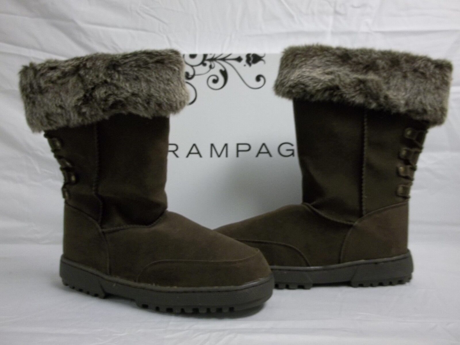 Rampage Size 10 M Astrid Brown Faux Fur Ankle Boots New Womens shoes