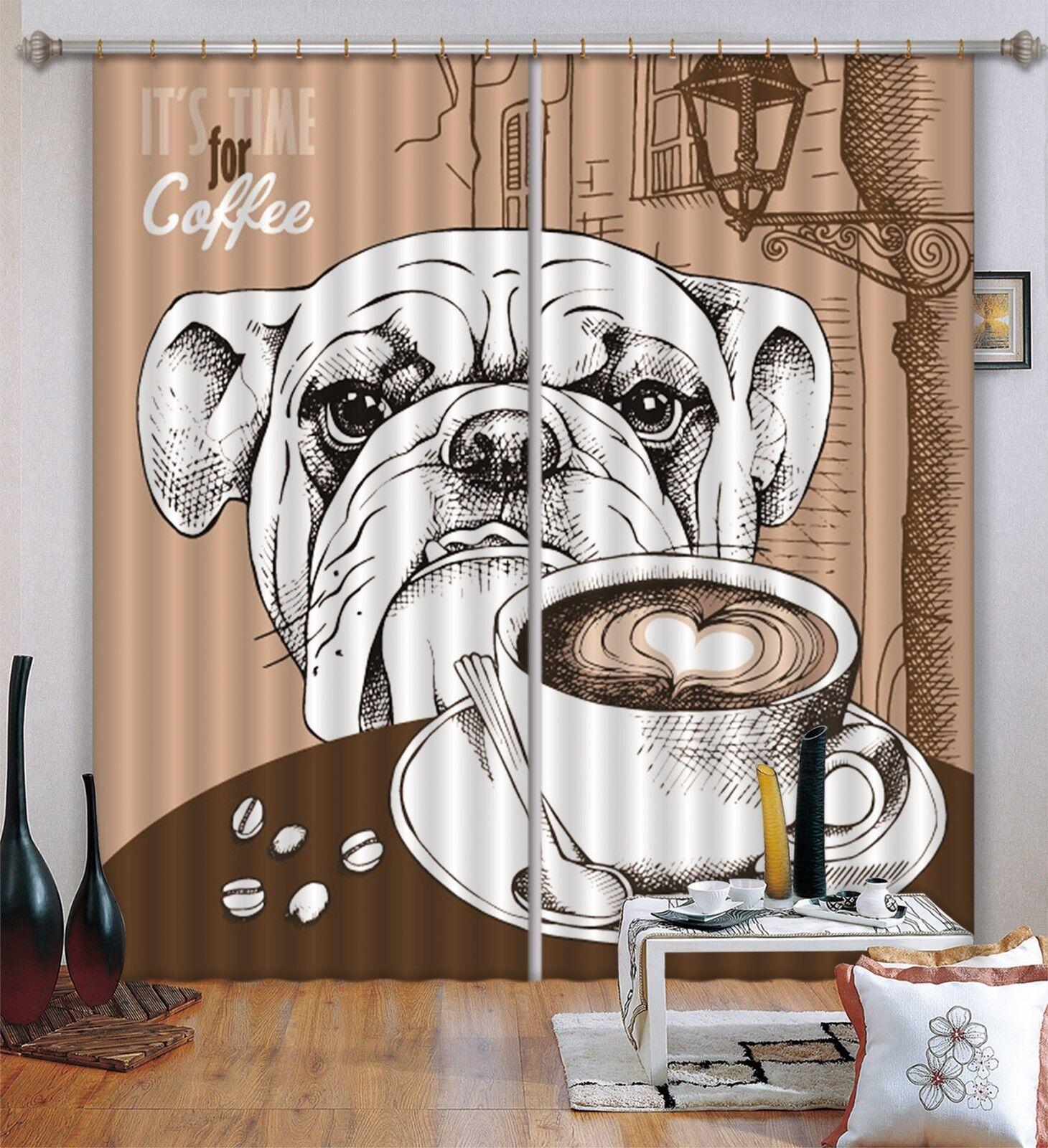 3d Cartoon perro bloqueo 60 cortina de fotografía presión cortinas cortina de tela de ventana