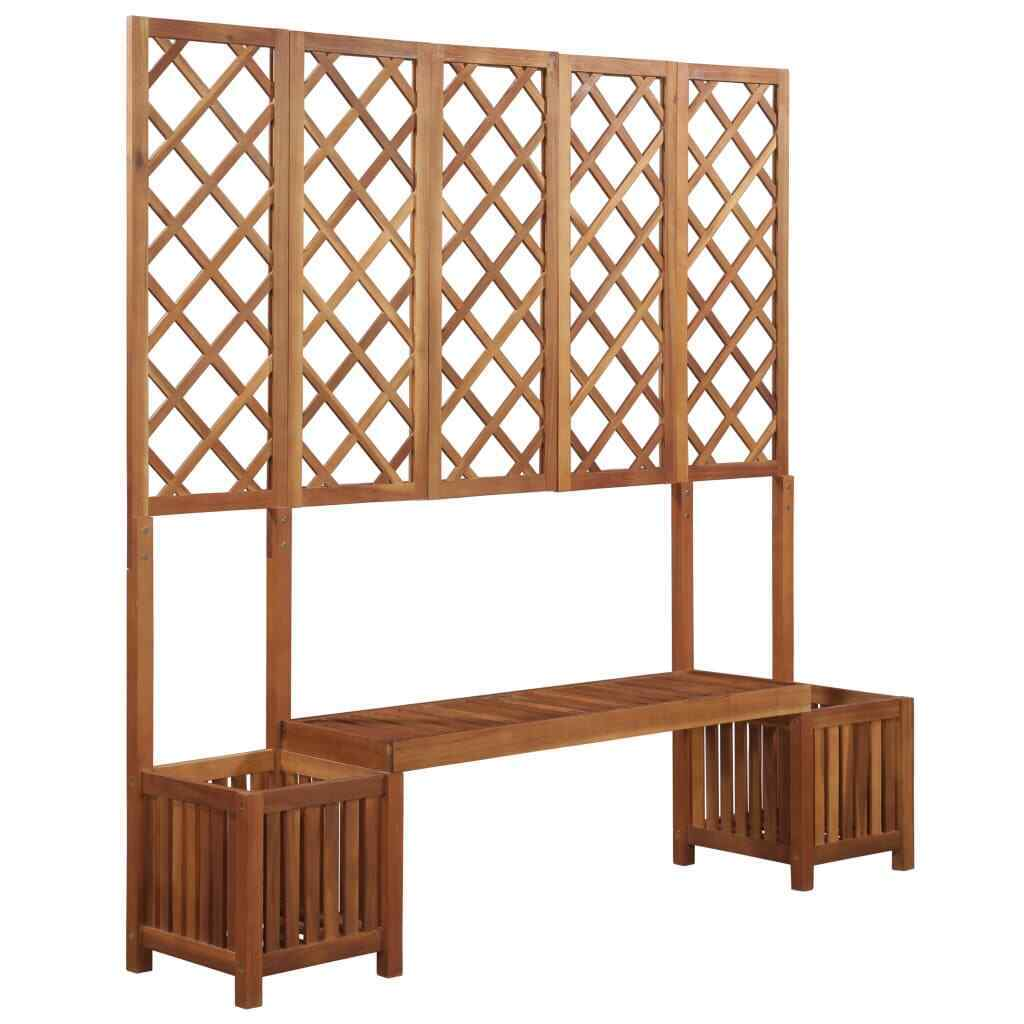 Outstanding Details About New Solid Acacia Wood Garden Planter W Bench Trellis Plant Box Pot Seat Pabps2019 Chair Design Images Pabps2019Com