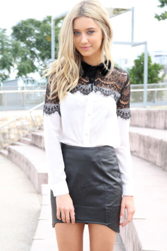 Stilvolle Design Damen Elegant Vintage Spitze Chiffon Splicing Langarm Shirt