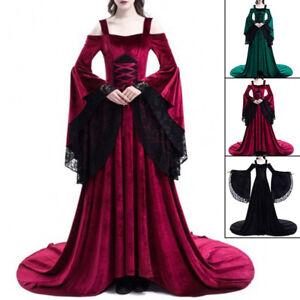 Off Shoulder Queen Gown Ladies Dress Elegant Cosplay Dress Medieval Renaissance
