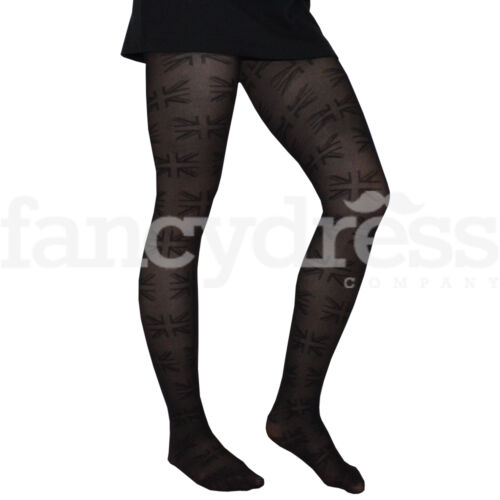 Union Jack Flag Print Pattern Black Tights One Size Royal Party Dance NEW