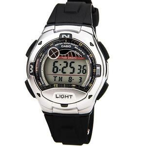 Casio-Men-039-s-Tide-Graph-Moon-Phase-Silver-Tone-Black-Resin-Watch-W753-1AV