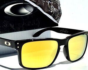 5f1ec26251 NEW Oakley HOLBROOK BLACK SW w 24K Gold Fire Lens Sunglass OO9102-08 ...