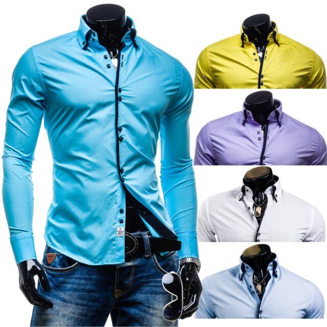 BOLF 1721 Langarm Herren Hemd Figurbetont Freizeit Slim Fit Men Casual 2B2 Shirt