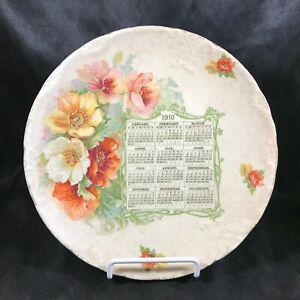 Antique 1910 Calendar Floral Plate Etruria Mellor & Co
