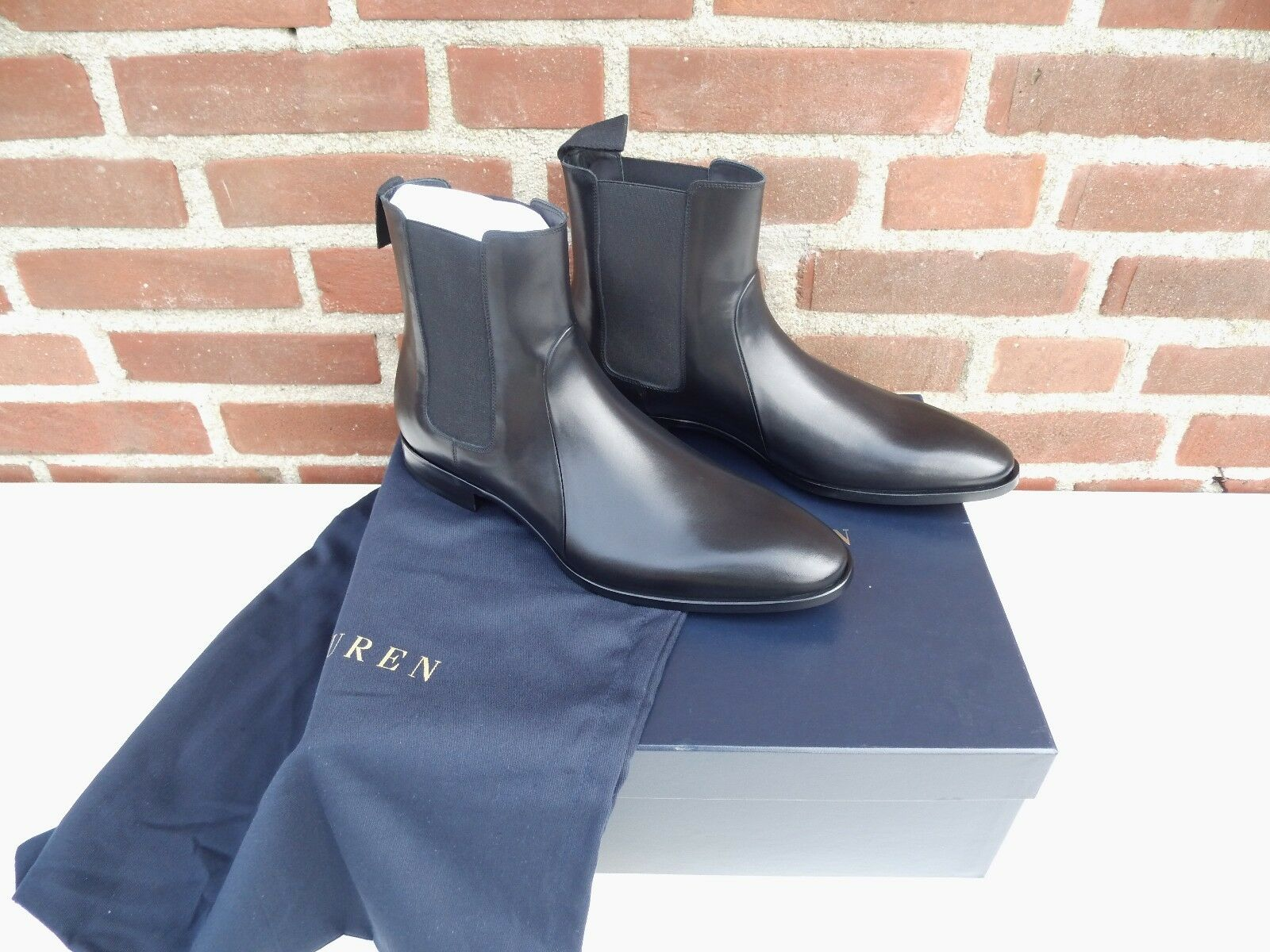 Ralph Lauren viola Label Men Collection nero Leather Garforth Chelsea avvio