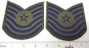 Replacement N.S. Meyer military uniform patches pair (2) Air Force Green M/SGT