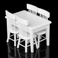 5pcs White Wooden Dining Table Chair Model Set 1:12 Barbie Dollhouse Furniture