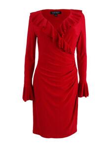 Lauren-by-Ralph-Lauren-Women-039-s-Ruffle-Trim-Sheath-Dress-10-Red