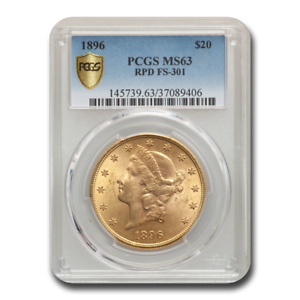 FS-301 RPD SKU#74180 1896 $20 Liberty Gold Double Eagle MS-63 PCGS