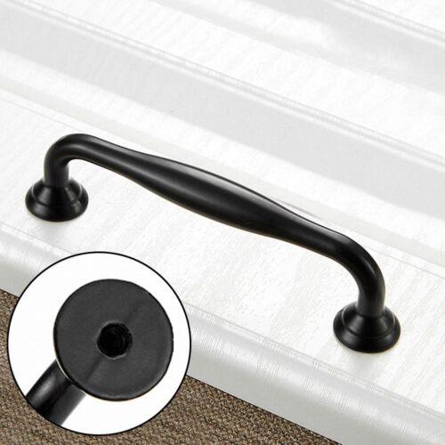 Drawer Wardrobe Kitchen Cupboard Cabinet Door Knobs Black Zinc Alloy Handles~