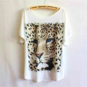 Women-039-s-Gorgeous-Arty-Leopard-Animal-Eco-T-shirt-Top-Size-M