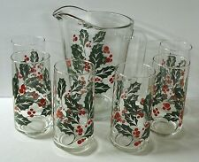 Vintage Crisa Glass Christmas Holly Pitcher & 6 Glass Tumblers - Red / Green