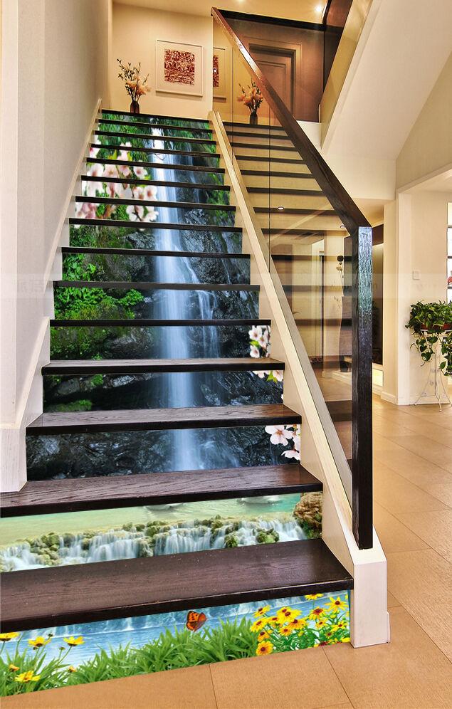3D Rivulet FFaibleers Stair Risers Decoration Photo Mural Vinyl Decal Wallpaper CA