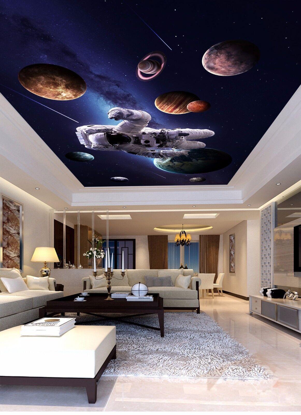 3D Astronaut Earth 7 Ceiling WallPaper Murals Wall Print Decal Deco AJ WALLPAPER