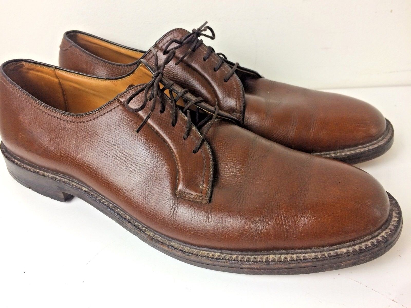 Vintage 70's Bostonians Brown Leather Plain Toe Oxford Size 13 Made In USA