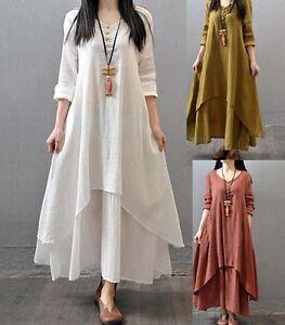 5757b40d74 Image is loading Muslim-Women-Kaftan-Abaya-Jilbab-Islamic-Girls-Cotton-