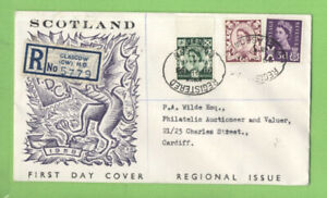 G-B-1958-6d-and-1-3-Scotland-Regionals-on-registered-First-Day-Cover-Glasgow