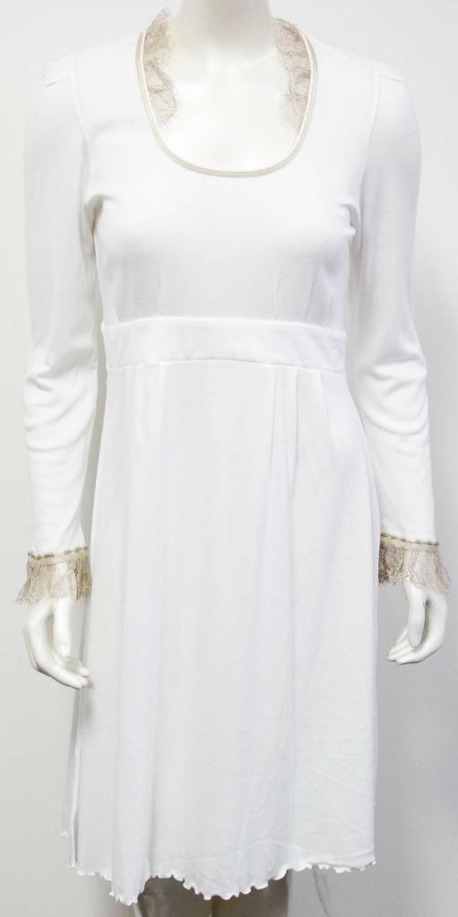 Pluto Lingerie Jane White gold Lace Trim Nightshirt Gown New WT Size 40 Small