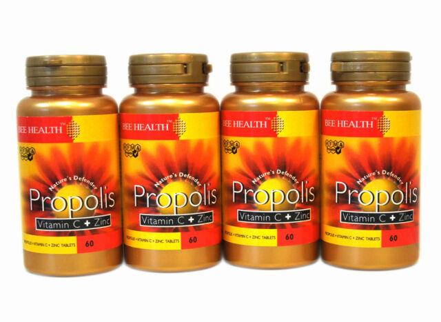 4 Bottls Bee Health PROPOLIS Vitamin C + Zinc 60 Tablets healthy immune system