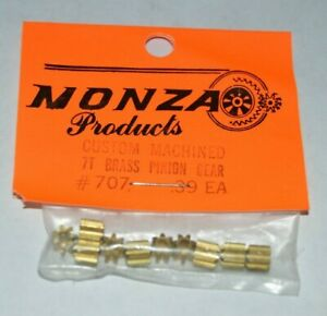 10-Custom-Brass-Pinion-Gears-7-Tooth-48-Pitch-078-shaft-NOS-Slot-Car-3-16-034