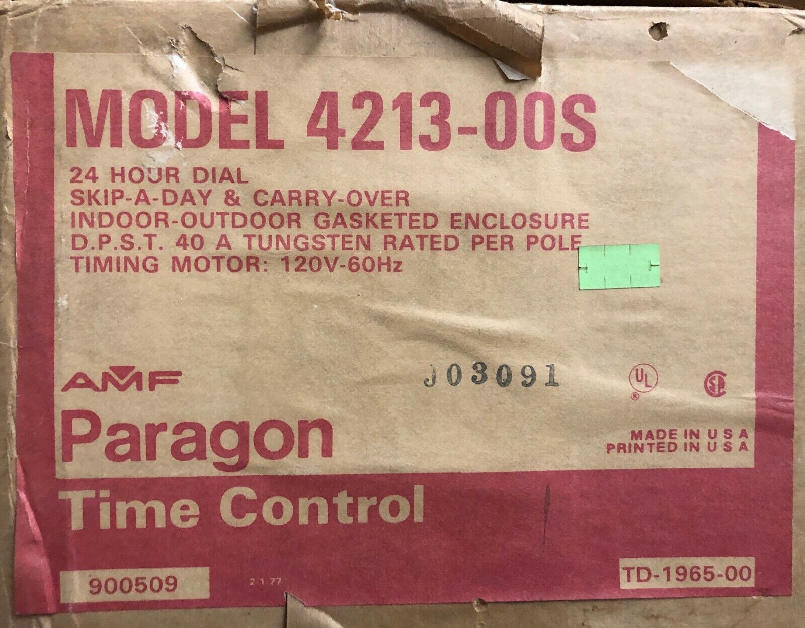AMF Paragon 4213-00S Time control