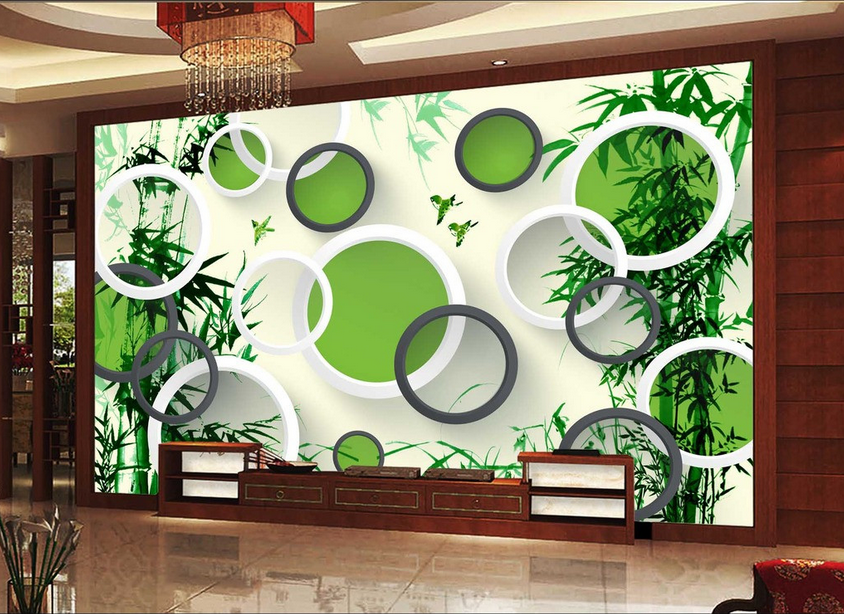 3D Bamboo Ring 835 Wallpaper Mural Paper Wall Print Wallpaper Murals UK Lemon