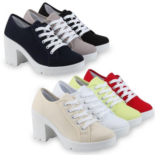 Damen Stiefeletten Schnürstiefeletten High Heels Schnür Halbschuhe 75671 Schuhe