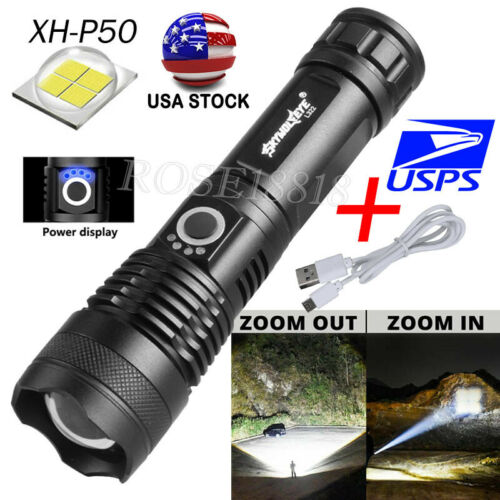 USA 350000 Lumens Zoom XHP70 LED USB Rechargeable Torch Flashlight Super Bright