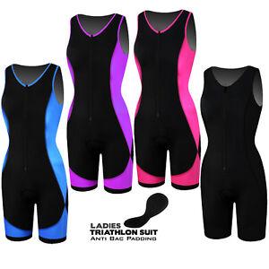 mejor selección 1af74 74d01 Detalles de Damas Traje Triatlon Acolchado Ciclismo Correr Yoga para mujer  Tri Traje Natación Suit- ver título original