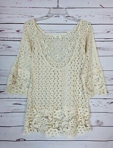 Kori-America-Boutique-Women-039-s-S-Small-Ivory-Lace-Cute-Summer-Tunic-Top-Blouse