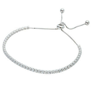 WHITE-GOLD-OVER-925-STERLING-SILVER-ADJUSTABLE-TENNIS-BRACELET-W-LAB-DIAMONDS
