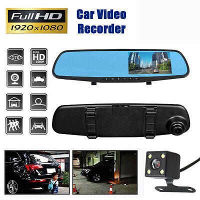 1080P Dual Lens Car DVR LCD Mirror Monitor Dash Cam Reverse* Rear View Camera US