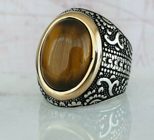 Turco otomano Signet Ojo De Tigre Piedras Preciosas sólido de plata esterlina 925 Anillo de hombre