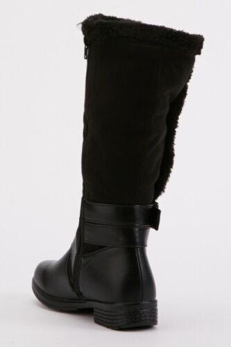 BLACK LADIES SIZE 6//39 BUCKLE TEDDY FUR TRIM LOW HEEL KNEE HIGH BIKER BOOTS