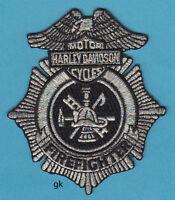 Harley Davidson Fire Firefighter Patch Silver / Black