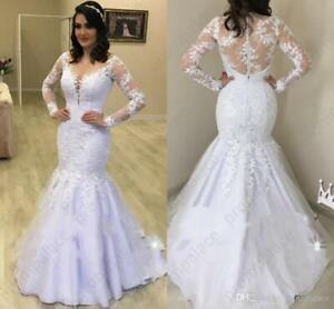 Details About Elegant Long Sleeves Mermaid Wedding Dresses Sheer Lace Appliqued Bridal Gowns