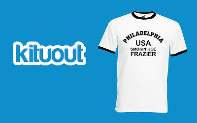 Smokin Joe Frazier Boxing Sport T Shirt USA Philadelphia FOTL Ringer Tee Tyson