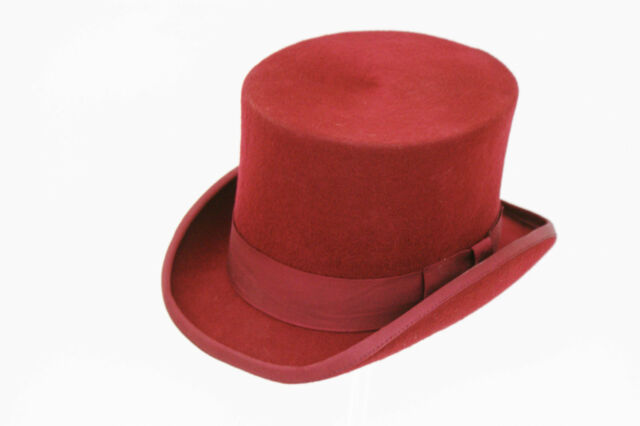 GENTS LADIES EVENT 100% WOOL HAND MADE MAROON TOP FELT HAT!!!