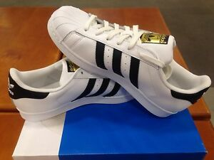 Image is loading Adidas-Original-C77124-Superstar-White-Black-Gold-Label-