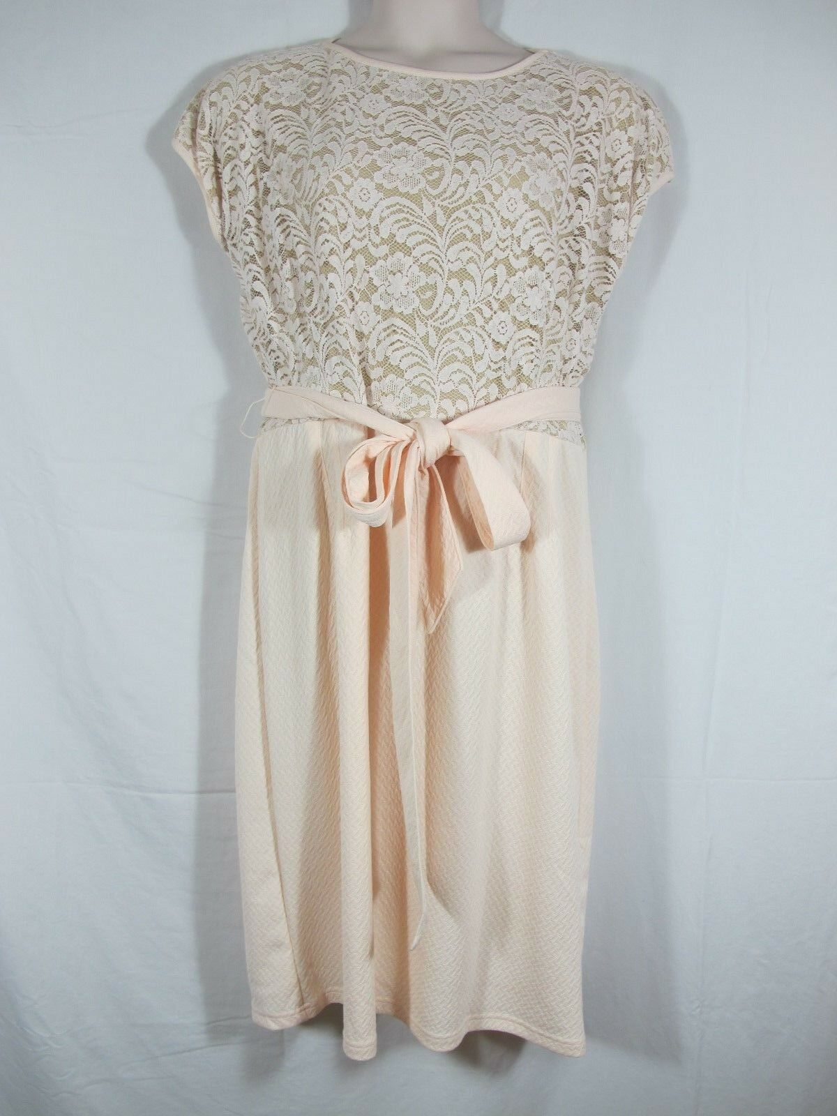 Melissa Masse Lace Bodice Dress Pale Rosa Champagne Cap Sleeve Plus 2X