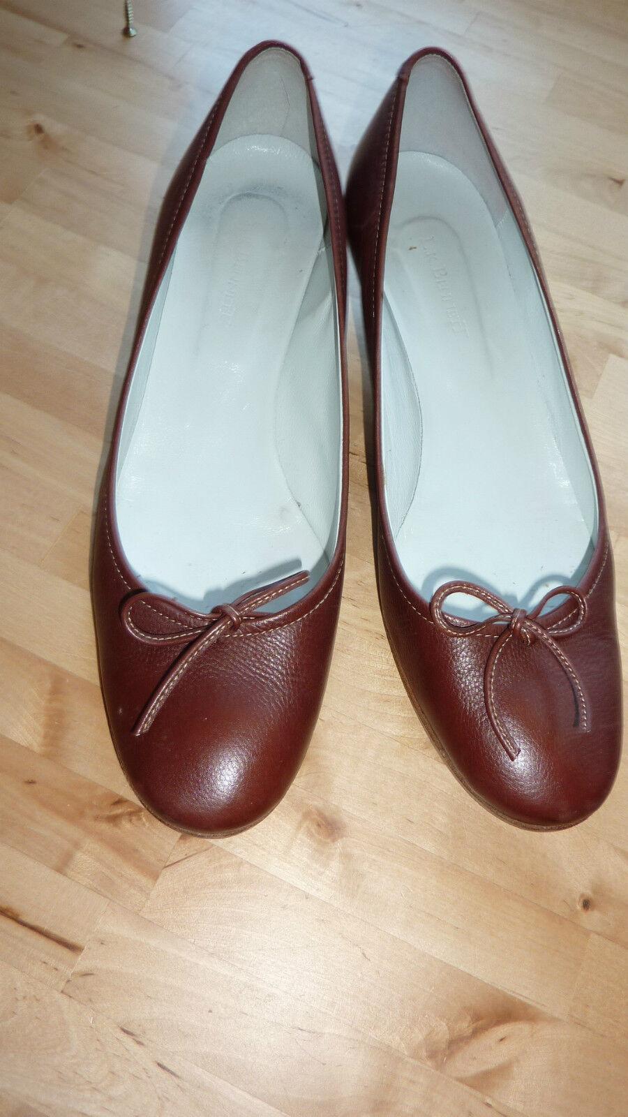 LK L K Bennett 7 40 Mid marron tribunaux Teddy Ballerine Pompe Chaussures en cuir RARE